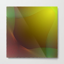 Greeting card of red and green lines on a yellow background. Metal Print