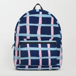 Pink and Blue Grid Backpack