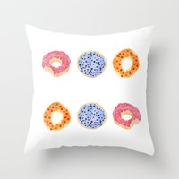 doughnut Throw Pillows featuring doughnut selection by cardboardcities