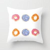 doughnut Throw Pillows featuring doughnut selection by cardboardcities