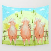 pigs Wall Tapestries featuring The Three Little Pigs by Isobel Woodcock Illustration