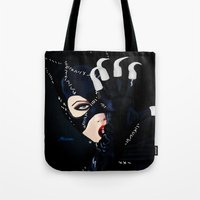 returns Tote Bags featuring Catwoman Returns  by LARiozzi