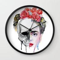 frida kahlo Wall Clocks featuring Frida Kahlo  by Karol Gallegos Carrera