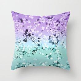 Mermaid Lady Glitter Stars #4 #shiny #decor #art #society6 Throw Pillow