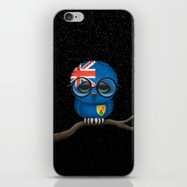 Baby Owl with Glasses and Turks and Caicos Flag iPhone Skin