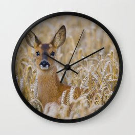 ROE DEER IN WHEAT Wall Clock
