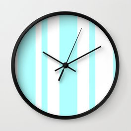 Mixed Vertical Stripes - White and Celeste Cyan Wall Clock
