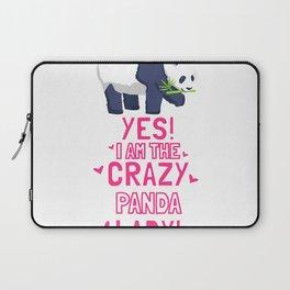 Women I Am The Crazy PANDA Lady Outfit Gift Panda Bear T-Shirt Laptop Sleeve