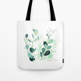 Eucalyptus leaves botanical illustration Tote Bag