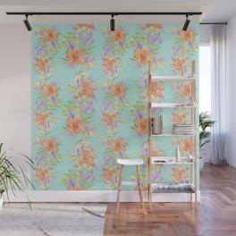 tropical hawaiian flowers aqua Wall Mural