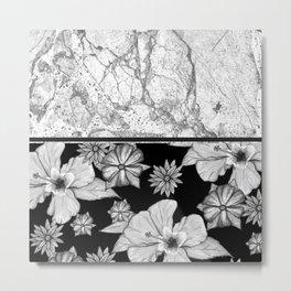 Marble Grey + Floral Metal Print