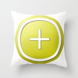 Yellow Plus Button Throw Pillow