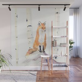 Fox and Birch Trees Wall Mural