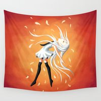 swan Wall Tapestries featuring Swan by Freeminds
