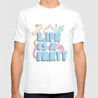 Life is a party MEDIUM Mens Fitted Tee White