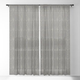 Art Deco in Gold & Grey Sheer Curtain