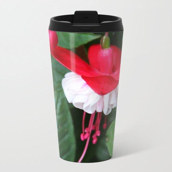 Fuchsia and greens Metal Travel Mug