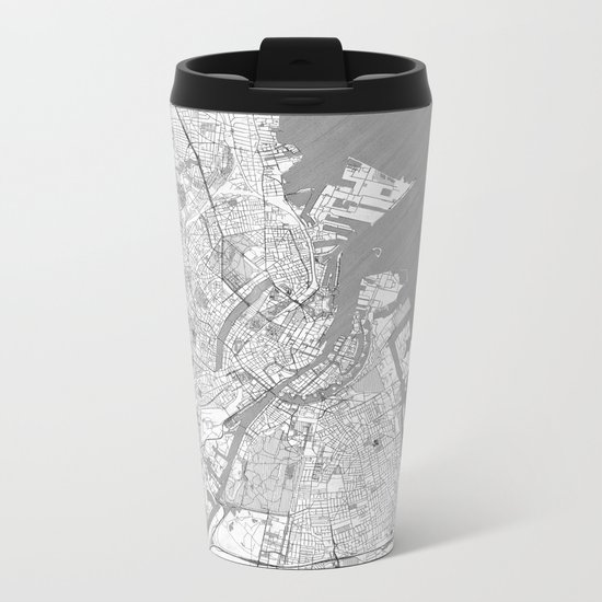 Copenhagen Map Line Metal Travel Mug