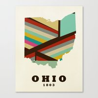 ohio state Canvas Prints featuring Ohio state map modern by bri.buckley