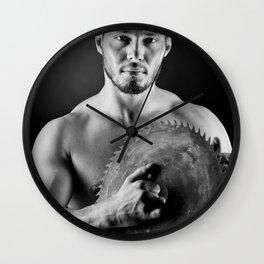 Hairdresser | Bodybuilder with circular saw Wall Clock