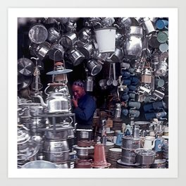 Moroccan Market Place: Cookware Booth Art Print