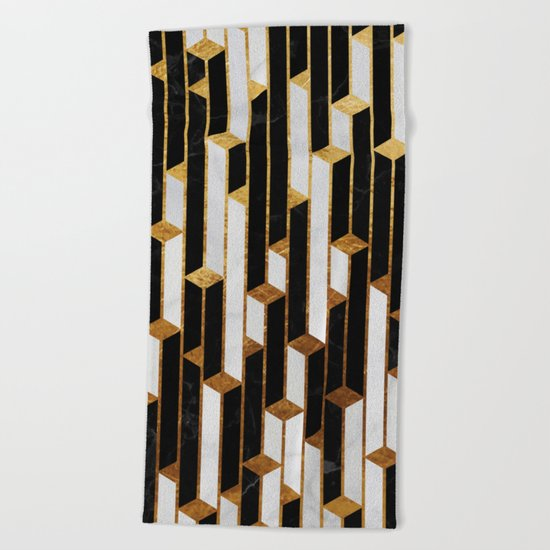 Marble skyscrapers - black, white and gold Beach Towel