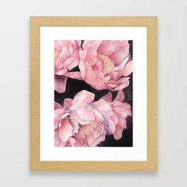 Peonies on Dark Background Framed Art Print