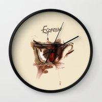 coffe Wall Clocks featuring coffe by tatiana-teni