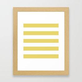 Hansa yellow - solid color - white stripes pattern Framed Art Print