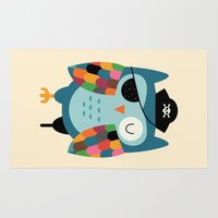 captain Area & Throw Rugs featuring Captain Whooo by Andy Westface