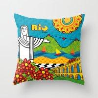 rio de janeiro Throw Pillows featuring Rio de Janeiro 2015 by Monica Fuchshuber