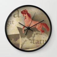 sagittarius Wall Clocks featuring sagittarius by Rosa Picnic