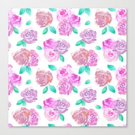 Purple and Pink Watercolor Roses Floral Pattern Canvas Print