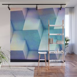 Pastel Blue Stacked Boxes Wall Mural