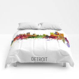 Detroit Michigan Skyline Comforters
