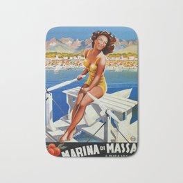 Vintage Marina di Massa Italian travel advertising Bath Mat