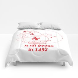 American continent - It all began in 1492 - Happy Columbus Day Comforters