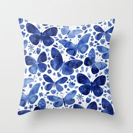 Blue Butterflies Throw Pillow