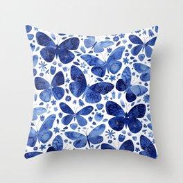 Blue Butterflies Throw Pillow