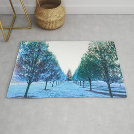 Path to Reality : Turquoise Teal Trees Rug