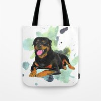 rottweiler Tote Bags featuring Rottweiler happy by Cami Landia