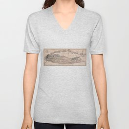 Vintage Long Island NY Railroad Map (1882) Unisex V-Neck