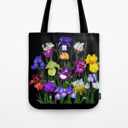 Iris Garden - on black Tote Bag