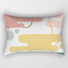 Abstract Colorful Blobs Gold Glitter Lines Modern Pattern Rectangular Pillow