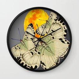 GOLDEN MOON MOTHS ON GREY Wall Clock