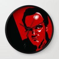 quentin tarantino Wall Clocks featuring Tarantino by denrees