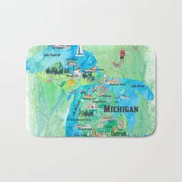Michigan USA State Illustrated Travel Poster Favorite Tourist Map Bath Mat