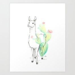 Llama cactus ink and watercolor Art Print