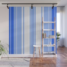 Strips - blue and white. Wall Mural