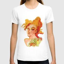 Deep orange yellow hues fashion portrait T-shirt